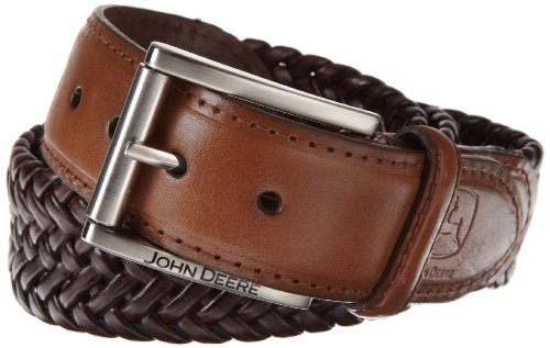 John Deere Mens Leather Braided Comfort Stretch Belt, Tan, 34