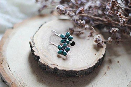 Green Emerald (synthetic) Silver Earrings, Flower Silver Earrings, Simple Everyday Earrings, Fall Earrings, Fall hottest earrings for - Earring Emerald Synthetic