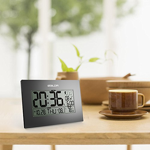 BALDR Digital Atomic Desk Wall Alarm Clock with Thermometer Operated, Auto Self Large Indoor Temperature Gauge - Black