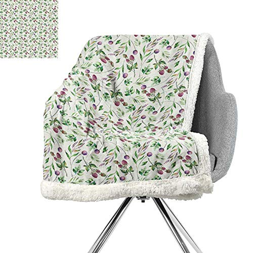 ScottDecor Nature Blanket Small Quilt,Raspberry Branches Leaves Petals Elegance Spring Florets Watercolor Art,Pink Fern Green Violet,Warm Breathable Comforter for Girls Kids Adults W59xL31.5 -