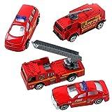 Aivtalk Scale Diecast Metal Fire Truck Construction Vehicle Transport Car Toy Model Cars Sets 4pcs for Boys