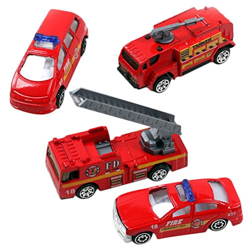 Aivtalk Scale Diecast Metal Fire Truck Construction Vehicle Transport Car Toy Model Cars Sets 4pcs for Kids