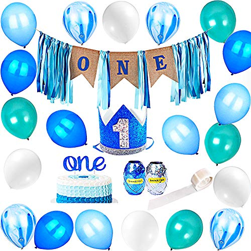 FECEDY 1st Birthday Burlap Ribbon Banner High Chair Decoration Garland Alphabet ONE Topper 1 Royal Boys Crown Hat 20pcs Balloons 2pcs Rope 1 Volume Glue Dots for Baby Boy Birthday Party Decorations