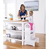 Guidecraft High Rise Step Up - White: Kitchen Baking Step Stool For Children, Quality Wood Kids Learning Furniture