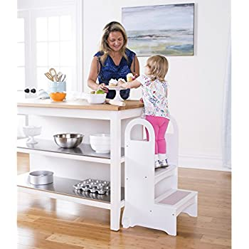 Guidecraft High Rise Step Up   White: Kitchen Baking Step Stool For Children,  Quality Wood Kids Learning Furniture
