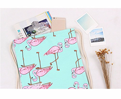 Printing Flamingos Unisex Retro Drawstring Backpacks Geometric Green TianranRT Bags Backpack qIx6zTpqwZ