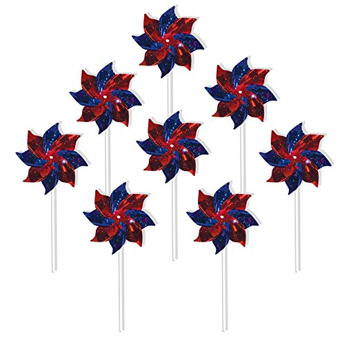 In the Breeze 2757 Blue & Red Mylar Pinwheel Spinners, 8