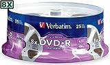 O VERBATIM O - Disc - DVD+R - 4.7GB for General use - Digital Movie - 8X - 25/spindle - tape reel look - Sold As Pack