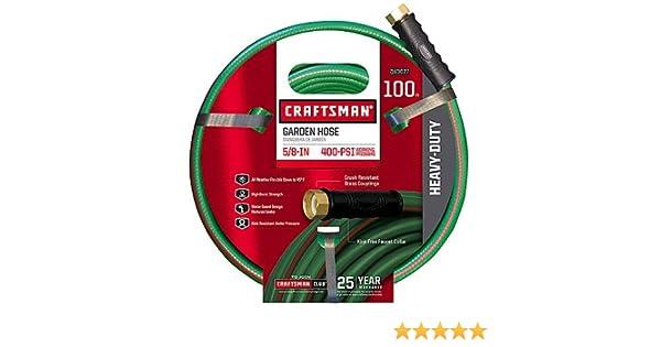 amazoncom craftsman cm ifhd 3 heavy duty 58 x 100 garden hose plus heavy duty metal garden hose nozzle kitchen dining - Craftsman Garden Hose