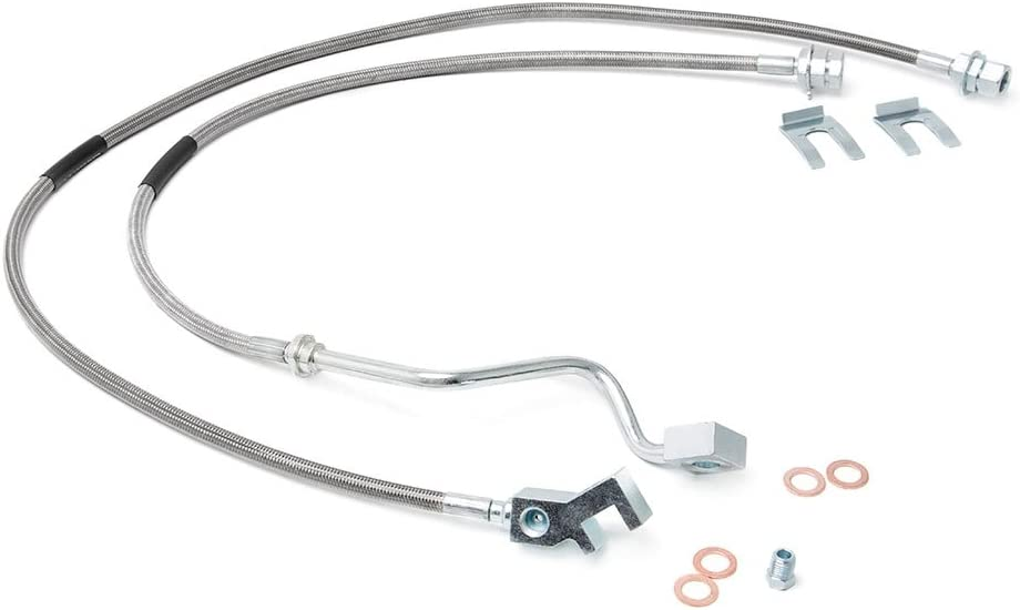1999-2004 Super Duty F250 F350 Rough Country Rear Extended Stainless Steel Brake Line | 4-8 Lifts 89713 fits