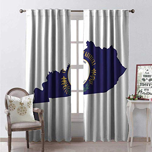 - Hengshu Kentucky Room Darkening Wide Curtains Map Flag of Bluegrass State United We Stand Divided We Fall Motto Waterproof Window Curtain W108 x L108 Cobalt Blue Multicolor