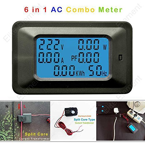 Transformer Phase Current (AC 6in1 Multimeter Combo Meter 110~250V Voltage Amp 50A Power Watt Energy With Open-close Current Transformer Split)