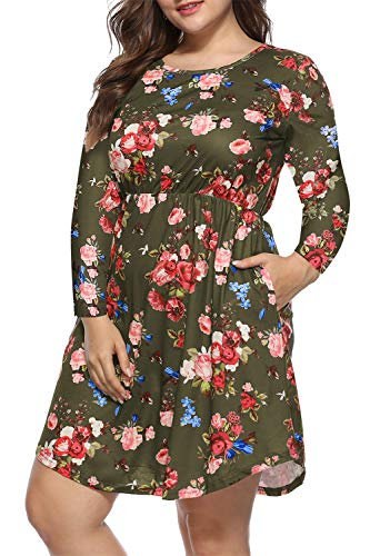 Womens Plus Size Dresses Floral Pleated Dress Swing Dress with Pockets 4XL Green