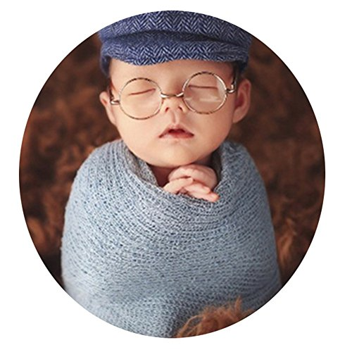 Price comparison product image Zeroest Baby Photography Props Newborn Boy Photo Shoot Outfits Infant Gentleman Glasses (Gold Glasses)
