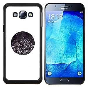 Montañas Triángulo del Arte Estrellas- Metal de aluminio y de plástico duro Caja del teléfono - Negro - Samsung Galaxy A8 / SM-A800
