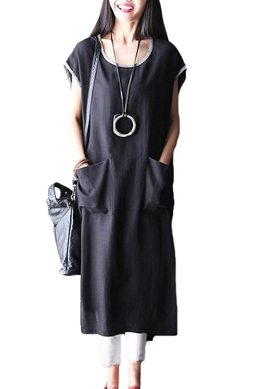 Vogstyle Damen Rundhals Extrakurzer Arm Lang Shirt Kleid