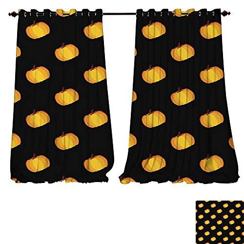 DESPKON-HOME Room Darkening Wide Curtains Black Orange Holiday Seamless Halloween Pattern Tie Up Window Drapes Living Room -W72 x L84/Pair ()