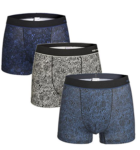 YVWTUC Men's Organic Cotton Underwear 3 Pack Cozy Breathable Boxer Briefs 2 Blue/Gray ()