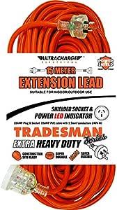 15M Heavy Duty Extension Lead Tradesman- Orange& Clear Plug