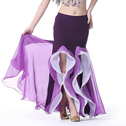 AvaCostume Bollywood Dance Costume Belly Dance Fishtail Maxi Skirt 2 Layer Purple