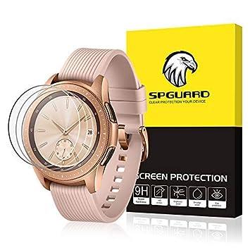 SPGuard compatible Protector pantalla Samsung Galaxy Watch 42 mm [Paquete 3], 2.5D/ 9H/ HD Anti-bubble resistente a los arañazos vidrio templado ...