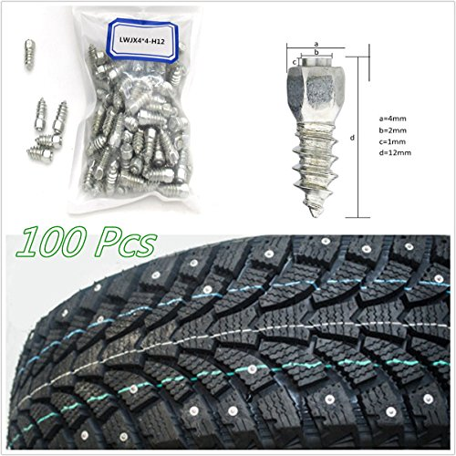 100 X Durable Vehicles Off-Road Wheel Tyres 12mm Tire Snow Chains Spikes Studs