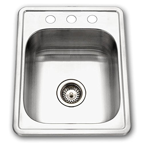 Houzer 1722-7BS-1 Hospitality Series Topmount Stainless Steel 3-holes Bar Prep Sink by HOUZER