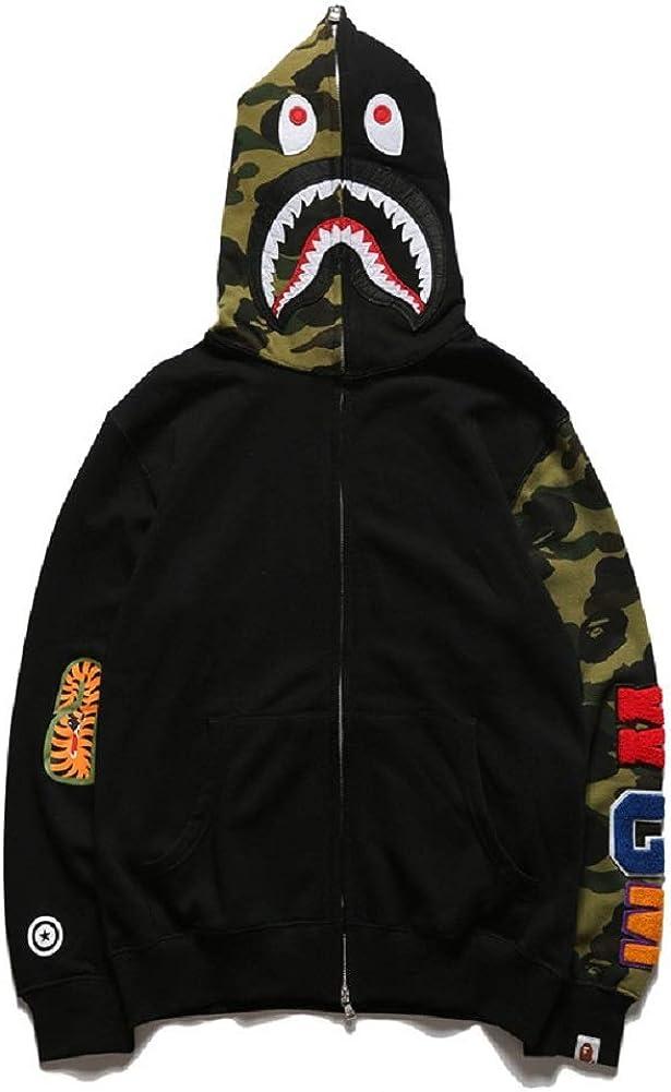 XIYU Shark Tide Brand Camouflage Print Hoodie Zipper for Men