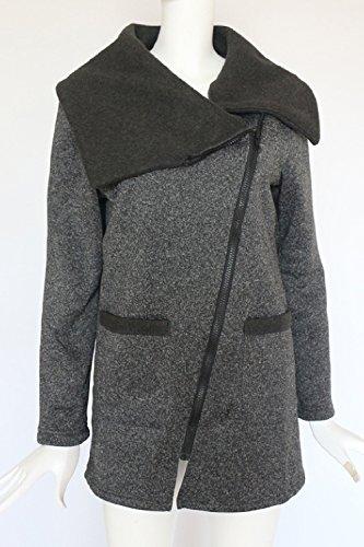 Maniche Outwear Casual Le Chiusa Giacche Lunghe Black Autunno Cappotto Moda Z88Aqwd