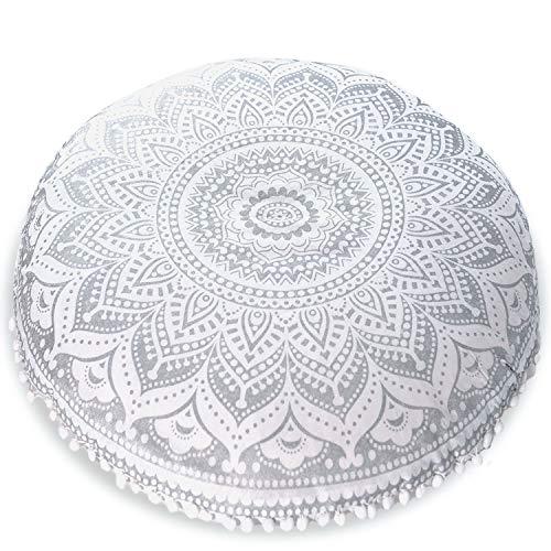 "Mandala Life ART Bohemian Yoga Decor Floor Cushion Cover - 30"" Round Meditation Pillow Case - Pouf Cover - Metallic Silver - Hand Printed - Organic Cotton"
