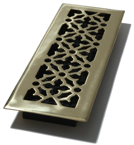 Solid Brass Wall Register - Decor Grates AG414 4-Inch by 14-Inch Gothic Floor Register, Solid Brass