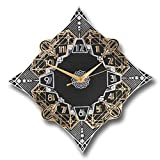 art deco style The Metal Foundry 'Paramount' Art Deco Style Décor Metal Wall Clock. Cast English Brass and Aluminum Hand Polished in England. Retro Vintage Designer Hanging Silent Silver and Gold (Paramount Design)