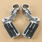 TCMT Chrome 1.25'' 3.2cm Adjustable Highway Foot Pegs Footpeg Footrest Bracket Set For Harley all models with 1-1/4 Engine Guards (Harley Touring Softail Dyna Sportster and so on)