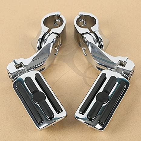 TCMT Black 1.25' 3.2cm Adjustable Highway Foot Pegs Footpeg Footrest For Harley all models with 1-1/4' Engine Guards (Harley Touring Softail Dyna Sportster and so on)