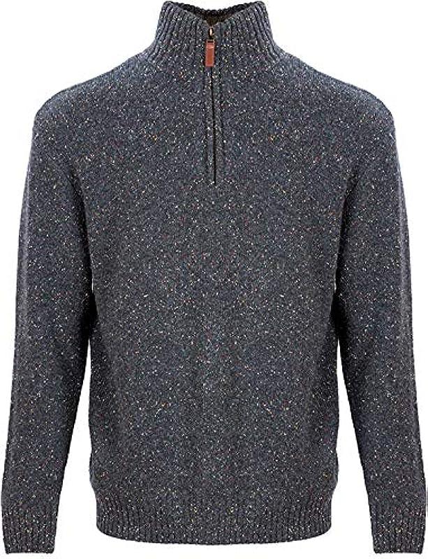 Aran Woollen Mills Troyer Męskie Pullover aus Lammwolle / Nylon, halber Reißverschluss: Odzież