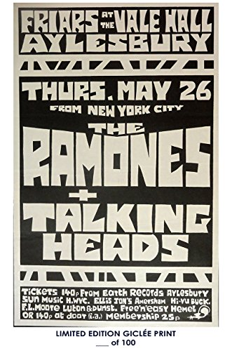 Rare Poster thick The Ramones / Talking Heads concert 1980s punk Reprint #'d/100!