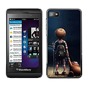 Caucho caso de Shell duro de la cubierta de accesorios de protección BY RAYDREAMMM - Blackberry Z10 - Boy Child Cartoon Teddy Bear Friendship Art