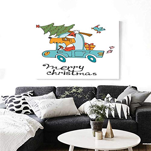 (Christmas Canvas Wall Art Blue Vintage Car Dog Driving with Santa Costume Cute Bird Tree and Gift Present Artwork for Wall Decor 32
