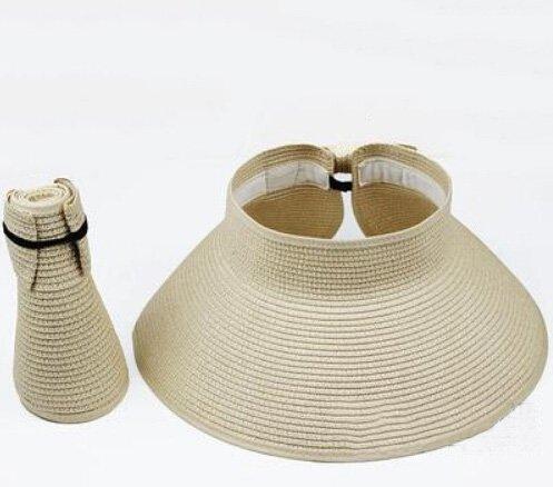 Spritech(TM) Fashion Children's Summer Foldable Hat Sun Visor Straw Light Beige