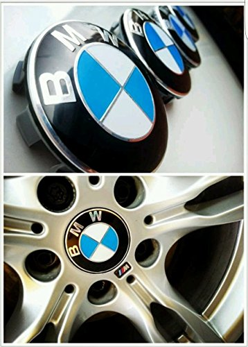 BMW ruedas de aleación centro embellecedor cobertura Badge Emblem 4 unidades, 10 x 68 mm, color azul y blanco: Amazon.es: Coche y moto
