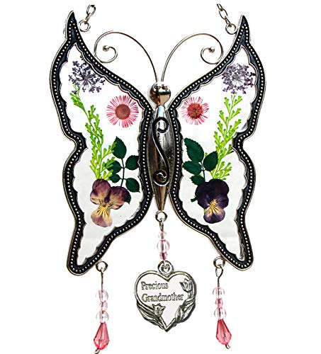 Precious Grandmother New Butterfly Suncatchers Glass Grandmother Wind Chime with Pressed Flower Wings Embedded in Glass with Metal Trim Grandma Heart Charm Gifts for Grandma for Birthdays Christmas
