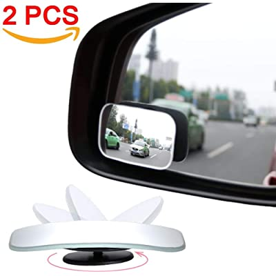 AmFor, HD Glass Convex Lens Frameless Adjustable Blind Spot Mirror for All Universal Vehicles Car Stick-on Design (2 PCS) (Rectangle), 2 Pack: Automotive