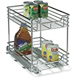 Household Essentials Glidez 2-Tier Chrome Sliding Cabinet Organizer, 11 1/2-Inch Wide