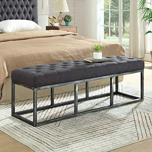 24KF Upholstered Tufted Long Bench with Metal Frame Leg, Ottoman Bench with Padded Seat-Dark Gray