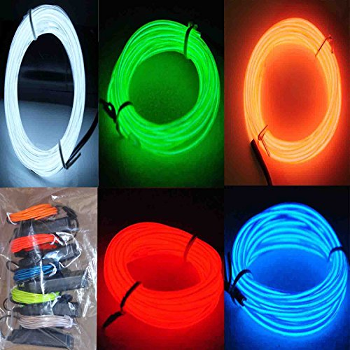 Black Light Dance Costumes (5 Pack - Jytrend 9ft Neon Light El Wire w/ Battery Pack)