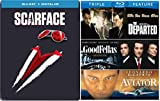 Mafia Crime Boss Blu-ray Collection - Scarface (Limited Edition Steelbook), Martin Scorsese Triple Feature (The Departed, Goodfellas, The Aviator) 4-Blu-ray Bundle