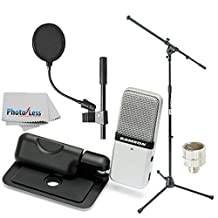 Samson Go Mic Portable USB Condenser Microphone Bundle with On-Stage MS7701B Euro Boom Microphone Stand, Pop Filter, Cleaning Cloth