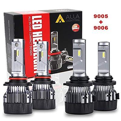 ALLA Lighting S-HCR HB3 9005 High Beam HB4 9006 Low Beam LED Headlight Bulbs Combo Sets 10000Lms Extreme Super Bright 9005 9006 LED Headlight Bulbs Conversion Kits, Xenon White (4 Packs, 2 Sets)