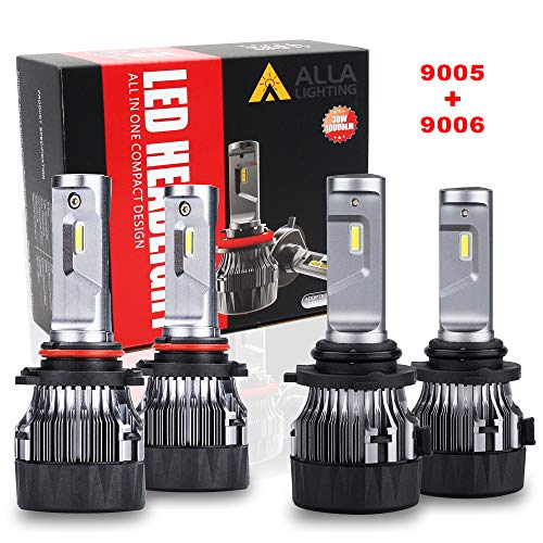 (ALLA Lighting S-HCR HB3 9005 High Beam HB4 9006 Low Beam LED Headlight Bulbs Combo Sets 10000Lms Extreme Super Bright 9005 9006 LED Headlight Bulbs Conversion Kits, Xenon White (4 Packs, 2 Sets))
