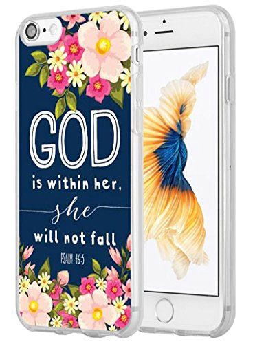 Iphone 7 Case Christian Quotes, Hungo Apple Iphone 7 Case Soft Tpu Silicone Protective God Is Within Her She Will Not Fall Psalm Bible Verse Songs Rubber
